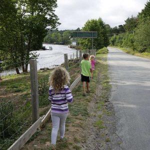 drei Kinder laufen neben der Straße am Zaun