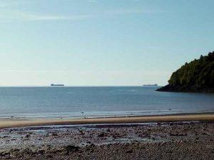 Strand, Wald und 2 große Schiffe auf dem Meer